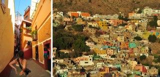 (izq.) Esperando nuestro turno en el Callejón del Beso. (der) Cerros de colores!
