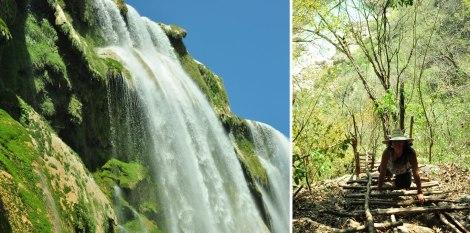 (izq) Cascada de Tamul desde abajo. (der) Nos aventuramos a bajar estas escaleras de palo para ver la cascada desde abajo!