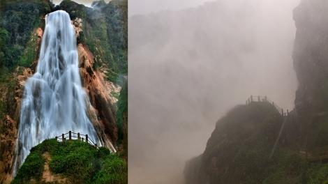 """(izq) como debería ser la cascada en esta época (der) como la """"vimos"""" nosotros..."""