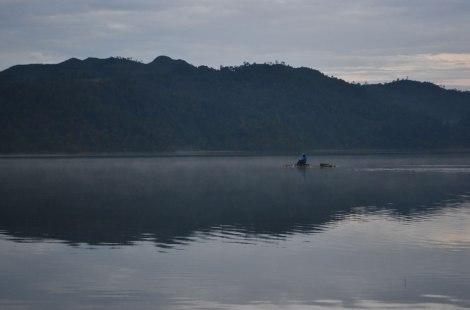 Pescando al amanecer, Lago Tziscao