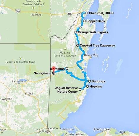 Nuestra ruta en Belice