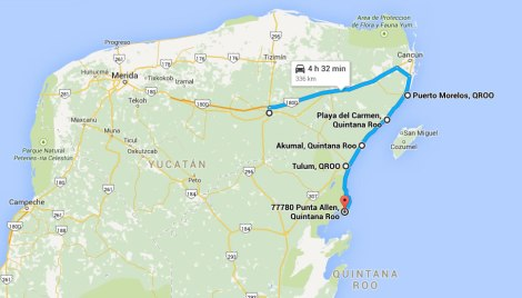 Ruta recorrida en la riviera maya