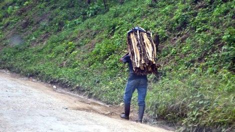 Hombres cargando leña, se ven a diario por los caminos de Guatemala