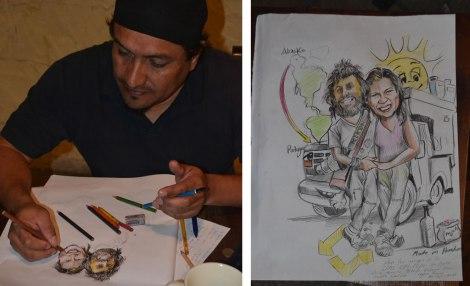 Edgar nos hizo una increíble caricatura. La idea era dibujarla en la camper, pero como voló el tiempo, la hizo sobre papel. Gracias amigo!