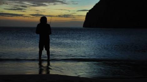 Vic pescando al atardecer