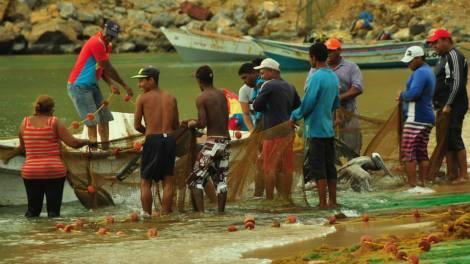 Vimos por un buen rato cómo los pescadores arrastraban entre dos lanchas, las redes con peces hasta la orilla.
