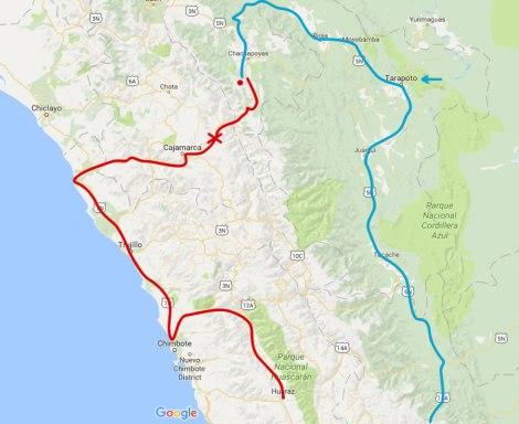 Tuvimos que evitar el paso por Cajamarca hacia Huaraz por derrumbes y nos dimos la vuelta larga por Tarapoto.